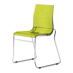DomItalia Furniture - Gel-T Stackable Dining Chair in Green (Set of 2) - This wonderful Gel-T Stackable Dining Chair in Green SAN (Set of 2) with sturdy chromed metal frame and tough styrene acrylic nitryl offers a comfy seat for ease and relaxation.