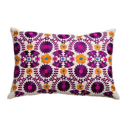 """Koko Mexico Pillow 13"""" x 20"""" - Mexican Fiesta! Flaming hearts and tactile daisies. Bold symbols of the living and the dead. Relax. All products by The Koko Company reflect their love for natural fabrics, and the manufacturing is closely monitored to ensure fair wages and compliance with strict social and environmental standards. Eagle Print Embroidery"""