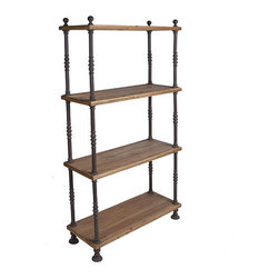 French Shopkeeper's Shelves - These spacious bookshelves look like they might have been used by a French millinery shop, a shop that sold hats and clothing. The wood shelves are supported by neat looking metal spindles, only adding to its antique appeal.
