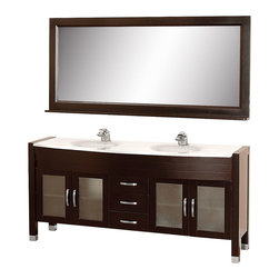 "Wyndham Collection - Daytona 71"" Double Vanity Set w/ White Man-Made Stone Top & White Integral Sinks - The Daytona 71"" Double Bathroom Vanity Set - a modern classic with elegant, contemporary lines. This beautiful centerpiece, made in solid, eco-friendly zero emissions wood, comes complete with mirror and choice of counter for any decor. From fully extending drawer glides and soft-close doors to the 3/4"" glass or marble counter, quality comes first, like all Wyndham Collection products. Doors are made with fully framed glass inserts, and back paneling is standard. Available in gorgeous contemporary Cherry or rich, warm Espresso (a true Espresso that's not almost black to cover inferior wood imperfections). Transform your bathroom into a talking point with this Wyndham Collection original design, only available in limited numbers. All counters are pre-drilled for single-hole faucets, but stone counters may have additional holes drilled on-site."