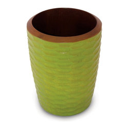 Enrico - Enrico Mango Wood Utensil Vase, Avocado - Each item in the Mango Honeycomb Avocado grouping features an enigmatic and tactile avocado green honeycomb texture carved into the outer surface and a smooth interior. These products are all hand-carved and finished, so each piece reflects the variations natural to handmade items. All items are finished in a food-safe lacquer. We recommend hand washing and drying for all items