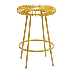 iMax - iMax Ellie Yellow Metal Stool X-29474 - Constructed of iron and painted in bright hues, the Ellie metal stools will refresh your entertaining area, or use as a plant stand or small side table.
