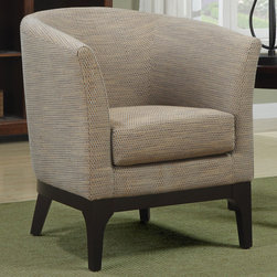 """Coaster - 900333 Accent Chair - Simple and clean. This barrel back accent chair with flared legs is wrapped in a textured fabric in shades of beige.; Dimensions: 30.75""""L x 31.00""""W x 31.50""""H"""