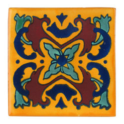 Flame Talavera Tiles, Box of 15
