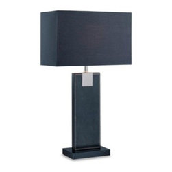 Lite Source - Merigio Black Table Lamp - Add a touch of contemporary style to your living space with this Remigio table lamp. Featuring a sleek, black shade design and geometric black base, it is covered in faux leather for a professional finishing touch.