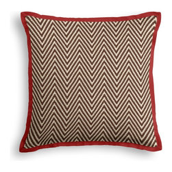 Brown Knit Chevron Tailored Pillow - The Tailored Throw Pillow is an updated, contemporary pillow style with the center fabric framed by a thin contrast flange.  Voila…it's artwork for your couch!  We love it in this brown & ivory chunky handwoven chevron cotton knit. perfect for adding luxurious texture & modern flare to any room.