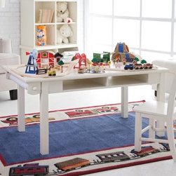 Classic Playtime Deluxe Train Table - Vanilla - Your little one will love working on the railroad all the live-long day when they have the Classic Playtime Vanilla Deluxe Train Table. The sturdy solid wood frame of this kid's train table stands up to all types of play. Table arrives with two sets of legs: short and tall. The short legs set the height of the table at 18 inches. The tall legs elevate the table to a height of 23 inches. Get more from your table by adding a toy storage bin on casters optional matching chairs (2 or 4) or choose from even more chair color options in our suggested accessories. Look for other matching products too. Some assembly required. When you get it set up and set the kids loose on this creative place peek around the corner to see amazing things happen. All configurations ship with two sets of legs per table high and low so your chairs can grow with your children! Dimensions:Low Legs: 48L x 27W x 18H inchesTall Legs: 48L x 27W x 23H inchesStorage cubbies (each): 14.25L x 24.5W x 3.5H inches About Classic PlaytimePlaytime doesn't require batteries or a screen and providing kids with a place to grow and learn doesn't require sacrificing your home's integrity. Classic Playtime is devoted to the idea that given constructive ways to explore their world and themselves children blossom in their own gardens. Our furniture is designed to be simple unique and functional in both kids' and adults' spaces. You'll find stylish and practical places for art activities reading writing building and somewhere to keep it all during downtime.