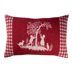 """Happy Blanket - Boiled Wool Toile Pillow ADAM2 16"""" x24"""" , Red - Wool is a natural temperature regulator, naturally hypoallergenic, naturally breathable and even improves sleep quality."""