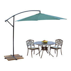 Oakland Living - Oakland Living 10 Ft Cantilever Umbrella in Green - Oakland Living - Patio Umbrellas - 4110GN - About This Product: