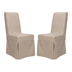 Safavieh - Safavieh Classical Durham Taupe Slipcover Side Chairs (Set of 2) - These simple chairs offer a clean design with elegant slip covers made from 100-percent taupe cotton. This pre-assembled chair set is made with a full solid frame for support and solid sturdy seating.