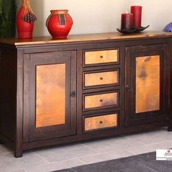 Artisan Home Furniture - Artisan Home Copper Ridge 59 Inch Console in Copper & Rubbed - The firing gives the copper its many variations and makes each top a work of art. No two tops will match  but are finished to blend together.  Selected pine a great value.  Multi-step lacquer finish protects wood and adds depth.  Provides additional strength on drawers.  Makes sturdy and durable quality cases.  Ensures a smooth glide and easy operation.