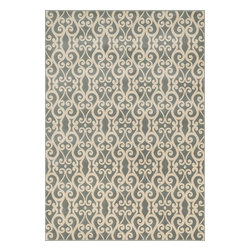 """Loloi Rugs - Loloi Rugs Shelton Collection - Mist / Ivory, 5'-3"""" x 7'-7"""" - Power-loomed in Turkey of durable polypropylene, Shelton's vivid, graphic designs spotlight�dramatic zigzag chevrons, elegant ironwork and Moroccan tile motifs in a palette that is�pleasing for both him and her. Zen-like, earthy hues of rich black, brick, brown, ivory, misty�blue and camel set a surprisingly soothing tone that can help add style to your home and�order to your day.�"""