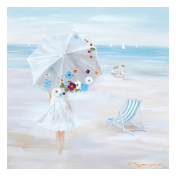 YOSEMITE HOME DECOR - Parasol Beach - Enjoy a pleasant day at the beach when you admire this painting. Watch the people on the beach and white sailboats afloat in the water. Light blue colors and a large umbrella embossed with stone gems add dimension to this artwork. This painting is hand stretched on canvas and ready for wall mounting.