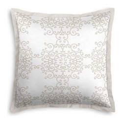 Light Tan & White Scroll Custom Euro Sham - Popped collars, statement necklaces, crisply ironed pants  it's the little details that complete a perfectly tailored look. And the sharp contemporary edging of the Tailored Euro Sham will do just that for your bed.  We love it in this intricate scroll medallion in pale warm gray super soft lightweight white cotton sateen. Subtle elegance at it's finest.