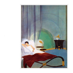 Sleeping Woman, Small, Unframed - This print is of an art deco Illustration for L`illustration magazine by Paul Iribe originally created circa 1934 Paris, France.