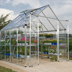 Mythos Hobby Greenhouse Kit - Silver 6' x 6' - The Mythos Hobby Greenhouse can get you up and growing in no time! Save money by starting your plants early from seed and extend your season by protecting plants from fall frosts. The clear, polycarbonate twin-wall panels on the Mythos greenhouse have twice the heat retention of single layer panels so it's great for overwintering those pampered patio pots.