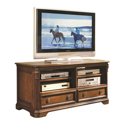 """Hooker Furniture - Brookhaven 52"""" TV Console - White glove, in-home delivery!  For this item, additional shipping fee will apply.  Brookhaven offers distinctive styling and exceptional function in fine entertainment center furniture for today's homes.  Highly Distressed Medium Clear Cherry Finish.  This handsome console will accommodate up to a 50"""" plasma, DLP, or LCD television.  It features two compartments, each with an adjustable shelf for components.  Below are two functional drawers for storage of media and accessories.  Finished top.   Drawers (2): 20 3/8"""" w x 16 1/2"""" d x 5 1/4"""" h  Shelves (2): 23 1/4"""" w x 18 5/8"""" d  Side Openings (2): 23 1/2"""" w x 21 5/8"""" d x 13 1/4"""" h"""