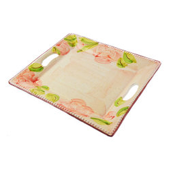 Vita Casalinga - Hand-Painted Rose Platter with Handles - A hand-painted rose platter with handles is perfect for breakfast in bed or to serve canapés at a cocktail party. Made of Italian terra-cotta clay, the old-world elegance is on display with this multiuse serving tray.