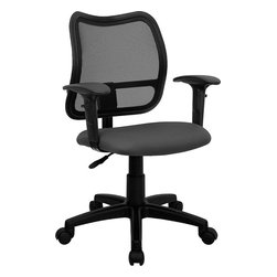 Flash Furniture - Mid-back Mesh Task Chair with Gray Fabric Seat and Arms - If you're in need of a comfortable chair with a breathable mesh back this is the chair. The modern design of the back will add a contemporary look to your office space. This chair is height adjustable to adapt to your working environment.