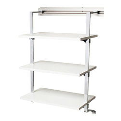Arrange A Space - Three Shelf Rack in White Finish - Includes hardware. Anodized aluminum rail. Rail mounts easily onto the wall. Easy to installs into wood studs. 0.75 in. shelf thickness with industrial grade particle board. Commercial grade steel tubing hang rod in polished chrome. Made from fine wood grain melamine and metal. 24 in. W x 11.75 in. D x 38 in. H (32 lbs.)Arrange a Space's patented closet systems provide you with a unique and innovative solution for all of your space and storage needs. Created as a more flexible and versatile option for closets and storage areas than the common white wire or wood shelf, rod systems of the past.