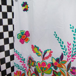 Gorgeous Flower Pattern Bathroom Shower Curtain - Bold, gorgeous florals make a splash across this fabric shower curtain and add a punch of color to your bath.  It will provide a standout design for your bathroom. Further, you can coordinate this elegant shower curtain with matching accessories to create an ensemble.  Get the shower curtain and watch it transform the look of your bathroom.