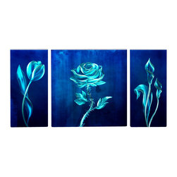 Matthew's Art Gallery - Metal Wall Art Abstract Modern Contemporary Blue Flowers - Name: Blue Flower