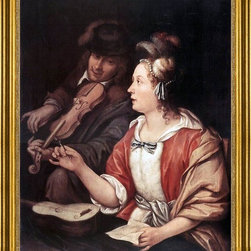 "The Elder Frans Van  Mieris-16""x20"" Framed Canvas - 16"" x 20"" The Elder Frans Van  Mieris The Music Lesson framed premium canvas print reproduced to meet museum quality standards. Our museum quality canvas prints are produced using high-precision print technology for a more accurate reproduction printed on high quality canvas with fade-resistant, archival inks. Our progressive business model allows us to offer works of art to you at the best wholesale pricing, significantly less than art gallery prices, affordable to all. This artwork is hand stretched onto wooden stretcher bars, then mounted into our 3"" wide gold finish frame with black panel by one of our expert framers. Our framed canvas print comes with hardware, ready to hang on your wall.  We present a comprehensive collection of exceptional canvas art reproductions by The Elder Frans Van  Mieris."