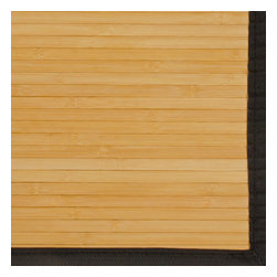 Contemporary Natural Bamboo Rug - Bamboo rugs have been a traditional floor covering in the Far East for centuries. They add a touch of organic, practical elegance to any space. Our bamboo rugs are made of the finest quality, sustainably harvested bamboo in the world for supreme durability. Kiln-dried bamboo is machine-planed and sanded for a smooth finish. This classic collection offers a variety of intriguing designs and brilliant colors to choose from. Mitered polypropylene borders provide resilience and clean design. 100% Moso bamboo is renowned for its durability and is sustainably harvested in its native habitat in the Anji Mountains of China. Kiln-dried bamboo is machine-planed and sanded for a smooth finish. Patented, ventilated, non-skid backing cushions while keeping rug in place.