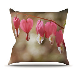 "Kess InHouse - Angie Turner ""Bleeding Hearts"" Pink Flower Throw Pillow (16"" x 16"") - Rest among the art you love. Transform your hang out room into a hip gallery, that's also comfortable. With this pillow you can create an environment that reflects your unique style. It's amazing what a throw pillow can do to complete a room. (Kess InHouse is not responsible for pillow fighting that may occur as the result of creative stimulation)."