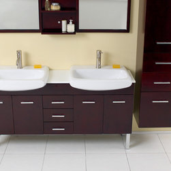 "Fresca - Fresca Vetta 60"" Espresso Modern Double Sink Vanity Set w/ Mirror - The Vetta is a great double sink vanity with an espresso finish on solid oak wood that fits every desire. Clean lines and slim details create a sleek modern urban creation that calmly brings a bathroom together. Details such as chrome hardware and a white ceramic basin complete a streamlined look that brings a touch of class to any decor. This vanity features soft closing hinges on side doors, self closing top quality mechanism on the pull-out shelves. Many faucet styles to choose from. Optional side cabinets are available."