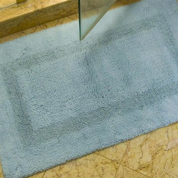 Safavieh - Bath Mat - Set of 2 - Set of 2. Power-loomed construction. Non-slip. Made from cotton. Light blue color. Made in India. Pile height: 0. 75 in. 3 ft. 9 in. L x 2 ft. 1 in. W.