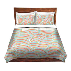 DiaNoche Designs - Duvet Cover Twill by Pom Graphic Design - Summer Seawaves - Lightweight and soft brushed twill Duvet Cover sizes Twin, Queen, King.  SHAMS NOT INCLUDED.  This duvet is designed to wash upon arrival for maximum softness.   Each duvet starts by looming the fabric and cutting to the size ordered.  The Image is printed and your Duvet Cover is meticulously sewn together with ties in each corner and a concealed zip closure.  All in the USA!!  Poly top with a Cotton Poly underside.  Dye Sublimation printing permanently adheres the ink to the material for long life and durability. Printed top, cream colored bottom, Machine Washable, Product may vary slightly from image.