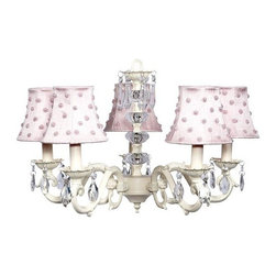 Belle & June - Pink Dots Chandelier - This strikingly elegant and playful 5-arm ivory chandelier features pink dupioni silk shades with white pearl and pink bead detail, a dramatic crystal ball center, and hanging crystals throughout. Hang this gorgeous light fixture in a little girls bedroom or nursery.