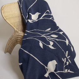 """In2green Birdy Slate Knit Throw - This Eco Birdy Slate throw is knit with a blend of recycled cotton yarn and manufactured in the USA. The size is 50""""x 60"""" and the best part is that its machine wash & dry."""
