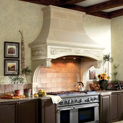 Florentine Cast Stone Range Hood - The FLORENTINE kitchen range hood features a delicate carved floral pattern on the freize. (Pricing based on 9 foot ceiling height. Add $300 per additional foot of ceiling height.)
