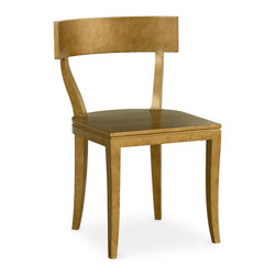 Thomas Side Chair - Boasting elegant lines in its c-shaped back and subtle saber legs, the Thomas Side Chair delivers simple sophistication to a dining room or kitchen. This wood seat offers a choice of satin luster colors created from a unique multi-layered lacquer and antiquing process. Shown in Antique Gold. Our Cottage House Collection is a wonderful blend of antique cottage style furniture that beautifully interpret reproductions through a labour of passion and quality. Using a multi-layered hand lacquering and antiquing process, these heirloom quality furniture pieces are designed to last generations. What makes this collection stand out from the rest is its great attention to detail and alder solid wood construction. Hand applied distress markings artistically mimic normal wear closely representing the original antique piece. The ideal solution to bring an eclectic, old world feeling into today's modern decor!