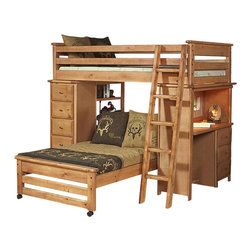 Chelsea Home - Twin Over Twin Loft Bed - NOTE: ivgStores DOES NOT offer assembly on loft beds or bunk beds.. Includes slat packs, chest with five drawers and desk ends with drawers. Mattresses and chair not included. Rustic style. Wooden ladder. 4 in. lag blots are utilized to assemble parts with a recessed end for safety. Drawers have a center mounted metal kenlin drawer glide system with fronts. Exceed the ASTM standard consumer safety specifications. Can hold up to 400 lbs. of distributed weight. Rounded edges for strong and safe youth furniture with Baltic birch plywood filler panels for a smooth feel and finish. Warranty: One year. Made from solid ponderosa pine wood. Caramel finish. Made in USA. Assembly required. 80 in. L x 80 in. W x 68.5 in. H (325 lbs.). Bunk Bed Warning. Please read before purchase.Warning: Falling hazard, bunk beds should be used by children 6 years of age and older!