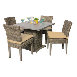 TKC - Royal Square Dining Table with 4 Chairs 2 for 1 Cover Set 2 Yr Fade Warranty - Crafted for the outdoors, our Royal square dining table serves a modern yet comfortable style in any setting. Seat up to four guests around the intricately woven all-weather wicker and powder-coated aluminum top. Pull up a few coordinating dining chairs and enjoy!