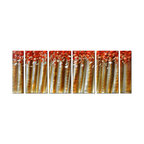 Pure Art - Birches of White Tree Wall Art Set of 6 - The simplicity of repeated vertical lines and splotches of color reveal the beauty of white birches alit with glorious autumn color. This is a large six panel wall art that has great visual impact, but horizontally and vertically, due to size and artistic line. The white birches stand out against a gold backdrop and the tops of the trees are ablaze in shades of orange.Made with top grade aluminum material and handcrafted with the use of special colors, it is a very appealing piece that sticks out with its genuine glow. Easy to hang and clean.