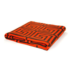"Pur by Pur Cashmere - Signature Blend Throw Celosia Orange 50""x65"" - Jacquard greek key pattern throw. 100% cotton blend Dry clean only. Inner mongolia."
