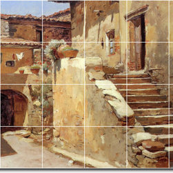 Picture-Tiles, LLC - Italian Courtyard Tile Mural By Frank Duveneck - * MURAL SIZE: 24x36 inch tile mural using (24) 6x6 ceramic tiles-satin finish.