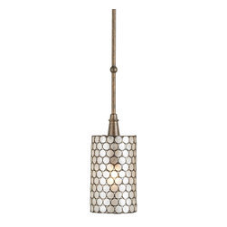 Currey and Company - Regatta Pendant - The natural material, Capiz Shell, is used in combination with wrought iron finished in Cupertino to create this one light pendant. When the light shines through the natural Capiz Shell, it gives a pleasing warm glow to the shade.