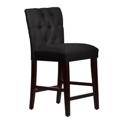 None - Made to Order Tufted Mor Black Counter Stool - This striking made to order stool accommodates a counter-height bar or table and makes a stunning impression on your decor. Foam padding in the seat offers superior comfort as you dine and relax with friends.