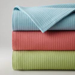 """SFERRA - SFERRA Twin Blanket, 80"""" x 100"""" - Sferra takes smooth white, 200-thread-count Egyptian cotton percale and adds a modern geometric print in your choice of colors, then mixes in New Resort sheeting and shams and solid-color blankets. Select Aqua, Chartreuse, or Salmon when ordering. Gra..."""