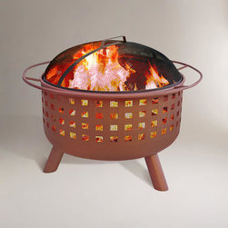 World Market - Open Weave Fire Pit, Terracotta Finish - There's no better way to take in the great outdoors than with our Open Weave Fire Pit in Terracotta Finish. It creates a warm, cozy ambiance for an evening on the patio with good friends. And it's so lightweight, you can also bring it along for grilling hot dogs and steaks during your next camping trip or tailgating party. A poker and spark guard are included with our Open Weave Fire Pit to help keep the embers contained. So fire it up and enjoy!
