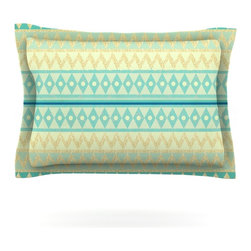 "Kess InHouse - Nika Martinez ""Glitter Chevron in Teal"" Blue Pattern Pillow Sham (Cotton, 30"" x - Pairing your already chic duvet cover with playful pillow shams is the perfect way to tie your bedroom together. There are endless possibilities to feed your artistic palette with these imaginative pillow shams. It will looks so elegant you won't want ruin the masterpiece you have created when you go to bed. Not only are these pillow shams nice to look at they are also made from a high quality cotton blend. They are so soft that they will elevate your sleep up to level that is beyond Cloud 9. We always print our goods with the highest quality printing process in order to maintain the integrity of the art that you are adeptly displaying. This means that you won't have to worry about your art fading or your sham loosing it's freshness."