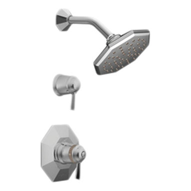 Moen - Moen TS3412 Chrome Shower Valve Trim, 1-Handle 2-Function Thermostatic Cartridge - The Felicity series features bold, sweeping horizontal lines and geometric forms, giving it a modern feel that enhances any refined decorating style.