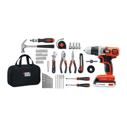 Black & Decker - Black & Decker Ldx120Pk 68-Piece 20-Volt Drill Project Kit - 66-piece hand tool & accessories kit;Kit includes:; 20V MAX lithium drill; 20V Li-Ion battery; Carry bag; Charger; 12oz hammer; Adjustable wrench; Needle-nose pliers; Pliers; Utility knife; Phillips(R)screwdriver; Flathead screwdriver; Tape measure; Ratcheting screwdriver; 32 assorted bits; 10 drill bits; 5 spade bits; 4 hole saws & mandrel; 4 nut driver bits; Magnetic bit tip holder