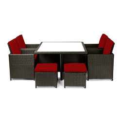 """Reef Rattan - Reef Rattan Carrera 9 Pc Cube Dining Set - Natural Rattan / Red Cushions - Reef Rattan Carrera 9 Pc Cube Dining Set - Natural Rattan / Red Cushions. This patio set is made from all-weather resin wicker and produced to fulfill your needs for high quality. The resin wicker in this patio set won't fade, shrink, lose its strength, or snap. UV resistant and water resistant, this patio set is durable and easy to maintain. A rust-free powder-coated aluminum frame provides strength to withstand years of use. Sunbrella fabrics on patio furniture lends you the sophistication of a five star hotel, right in your outdoor living space, featuring industry leading Sunbrella fabrics. Designed to reflect that ultra-chic look, and with superior resistance to the elements in a variety of climates, the series stands for comfort, class, and constancy. Recreating the poolside high end feel of an upmarket hotel for outdoor living in a residence or commercial space is easy with this patio furniture. After all, you want a set of patio furniture that's going to look great, and do so for the long-term. The canvas-like fabrics which are designed by Sunbrella utilize the latest synthetic fiber technology are engineered to resist stains and UV fading. This is patio furniture that is made to endure, along with the classic look they represent. When you're creating a comfortable and stylish outdoor room, you're looking for the best quality at a price that makes sense. Resin wicker looks like natural wicker but is made of synthetic polyethylene fiber. Resin wicker is durable & easy to maintain and resistant against the elements. UV Resistant Wicker. Welded aluminum frame is nearly in-destructible and rust free. Stain resistant sunbrella cushions are double-stitched for strength and are fully machine washable. Removable covers made with commercial grade zippers. Tables include tempered glass top. 5 year warranty on this product. PLEASE NOTE: Throw pillows are NOT included. Table: W 49"""" x"""