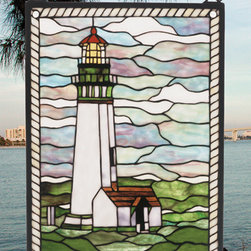 Meyda - 15 Inch W 20 Inch H Yaquina Head Lighthouse Window Windows - Color Theme: Purple/Blue Ca 59 Beige